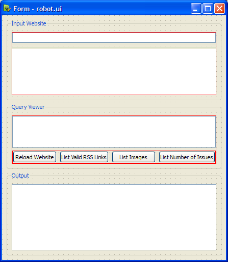 The user interface in Qt Designer