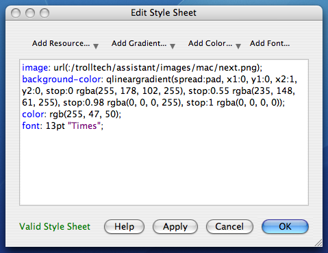 Edit a style sheet