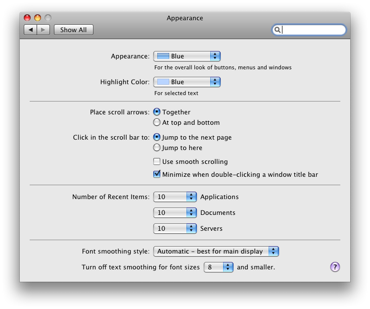 A dialog in Mac OS X